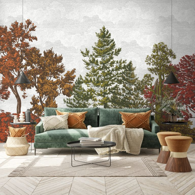 fall wall mural with sofa and textured cushions and throws