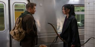 Jeremy Renner as Clint Barton and Hailee Steinfeld as Kate Bishop on Hawkeye