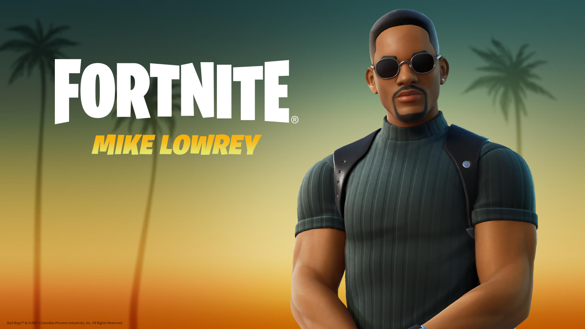 Mike Lowrey in a Fortnite art style in front of a background of Palm trees as the sun sets.