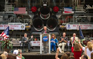 NASA Administrator Charles Bolden announces where four space shuttle orbiters will be permanently displayed at the conclusion of the Space Shuttle Program during an event held at one of the Orbiter Processing Facilities, Tuesday, April 12, 2011, at Kenned
