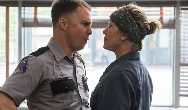 Three Billboards Outside Ebbing, Missouri Sam Rockwell Frances McDormand in each other's faces
