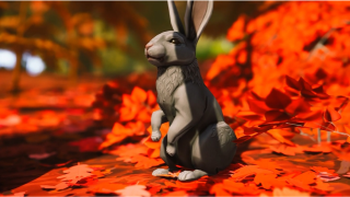 The Waylanders: A rabbit sitting in a pile of leaves
