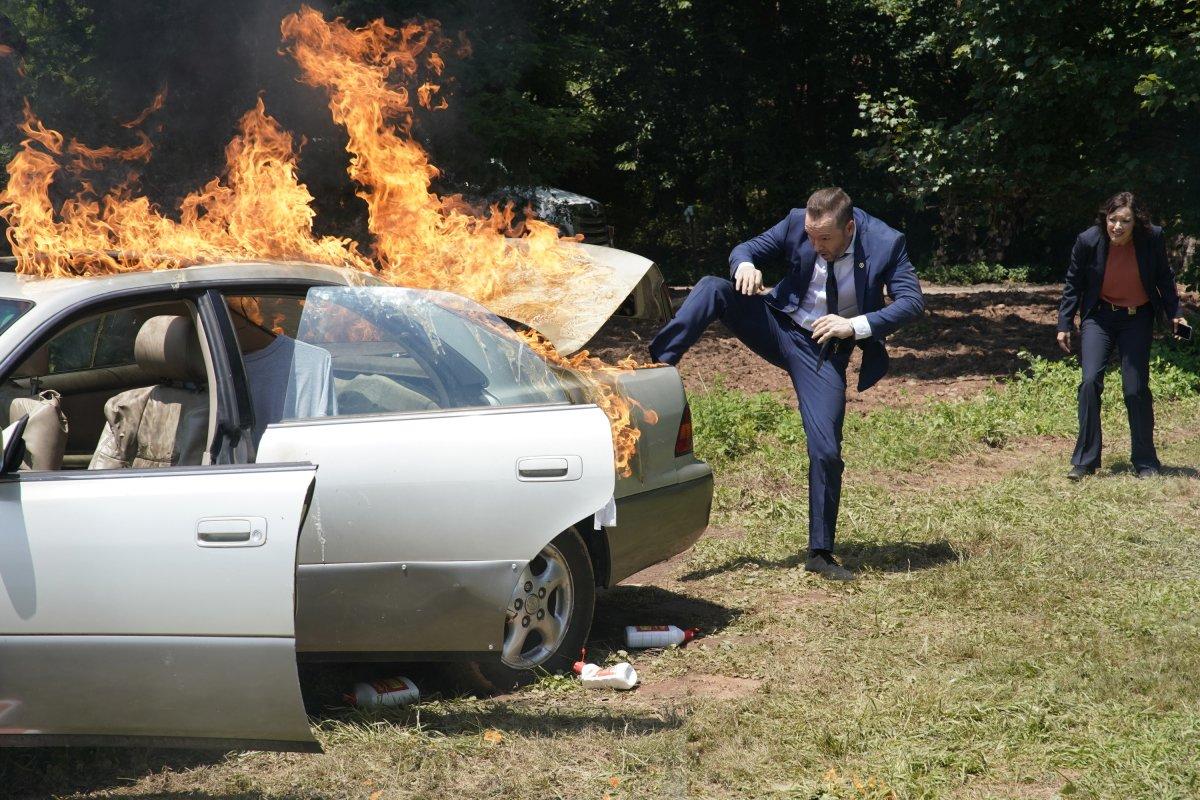 Blue Bloods Season 10 premiere burning car fire CBS