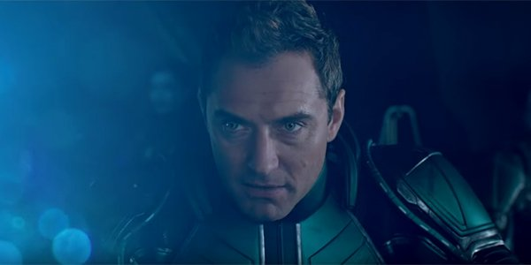 Jude Law staring intensely in Captain Marvel