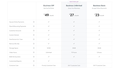 Wix's business pricing plans for ecommerce sites
