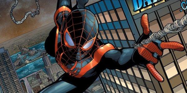 Miles Morales shooting webs as Spider-Man