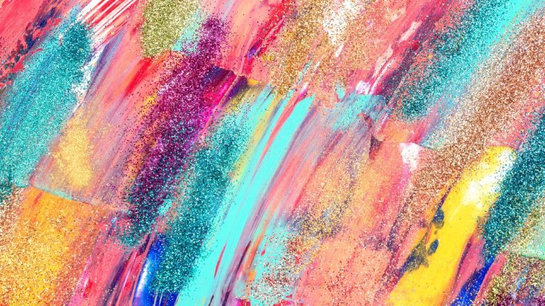 Multicolored brushstrokes of paint - stock photo