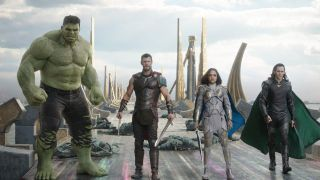 "From left, Mark Ruffalo, Chris Hemsworth, Tessa Thompson and Tom Hiddleston in ""Thor: Ragnarok."""