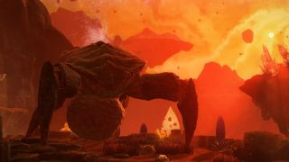 A four-legged crab monster looms against a harsh alien landscape.