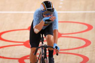 IZU JAPAN AUGUST 08 Lotte Kopecky of Team Belgium withdraws from the Womens Omnium tempo race 2 round of 4 of the track cycling on day sixteen of the Tokyo 2020 Olympic Games at Izu Velodrome on August 08 2021 in Izu Shizuoka Japan Photo by Tim de WaeleGetty Images