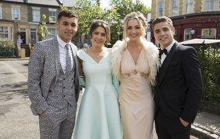 Shakil, Bex, Louise and Travis are ready to go to prom. Shakil Kazemi, Bex Fowler, Louise Mitchell, Travis Law-Hughes in Eastenders.