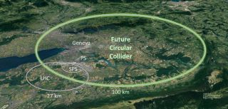 CERN announces plans to build a particle accelerator that's four times larger than the Large Hadron Collider.