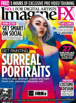 ImagineFX 161 cover featuring a woman with a half buzz cut emerging from swirling abstract shapes