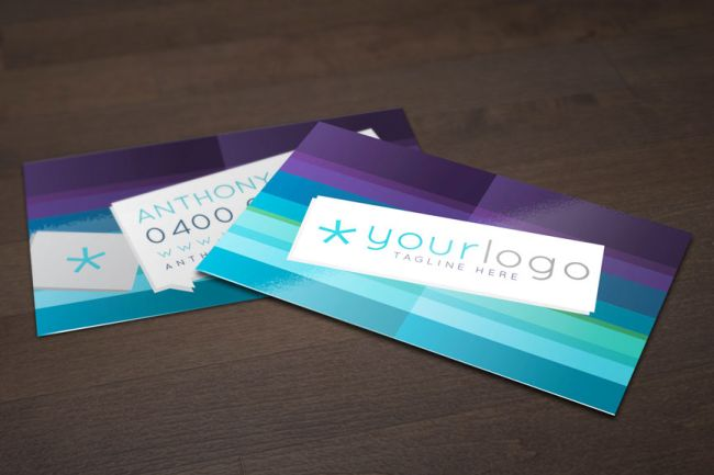 Free business card templates: Purple and Blue