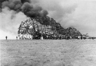 On May 6, 1937, the Hindenburg airship became engulfed in flames and crashed to the ground as it attempted to land at the Naval Air Station in Lakehurst, New Jersey.