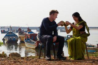 Gordon Ramsay and Chef Shri Bala enjoy fresh coconut juice.