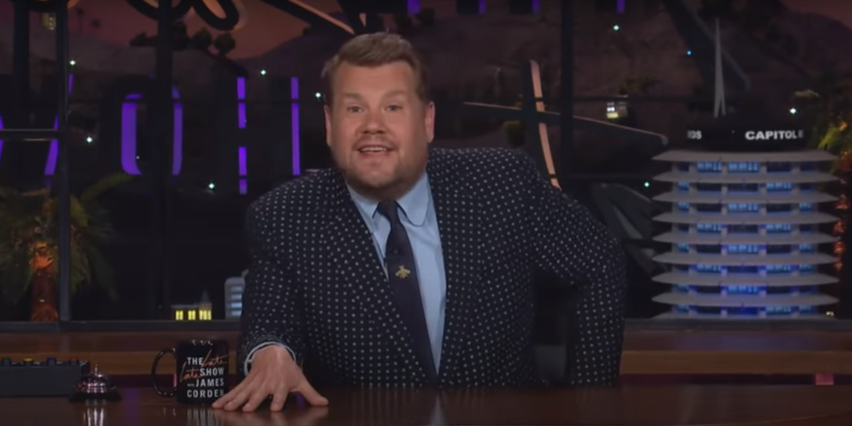 James Corden talking about the European Super League on The Late Late Show