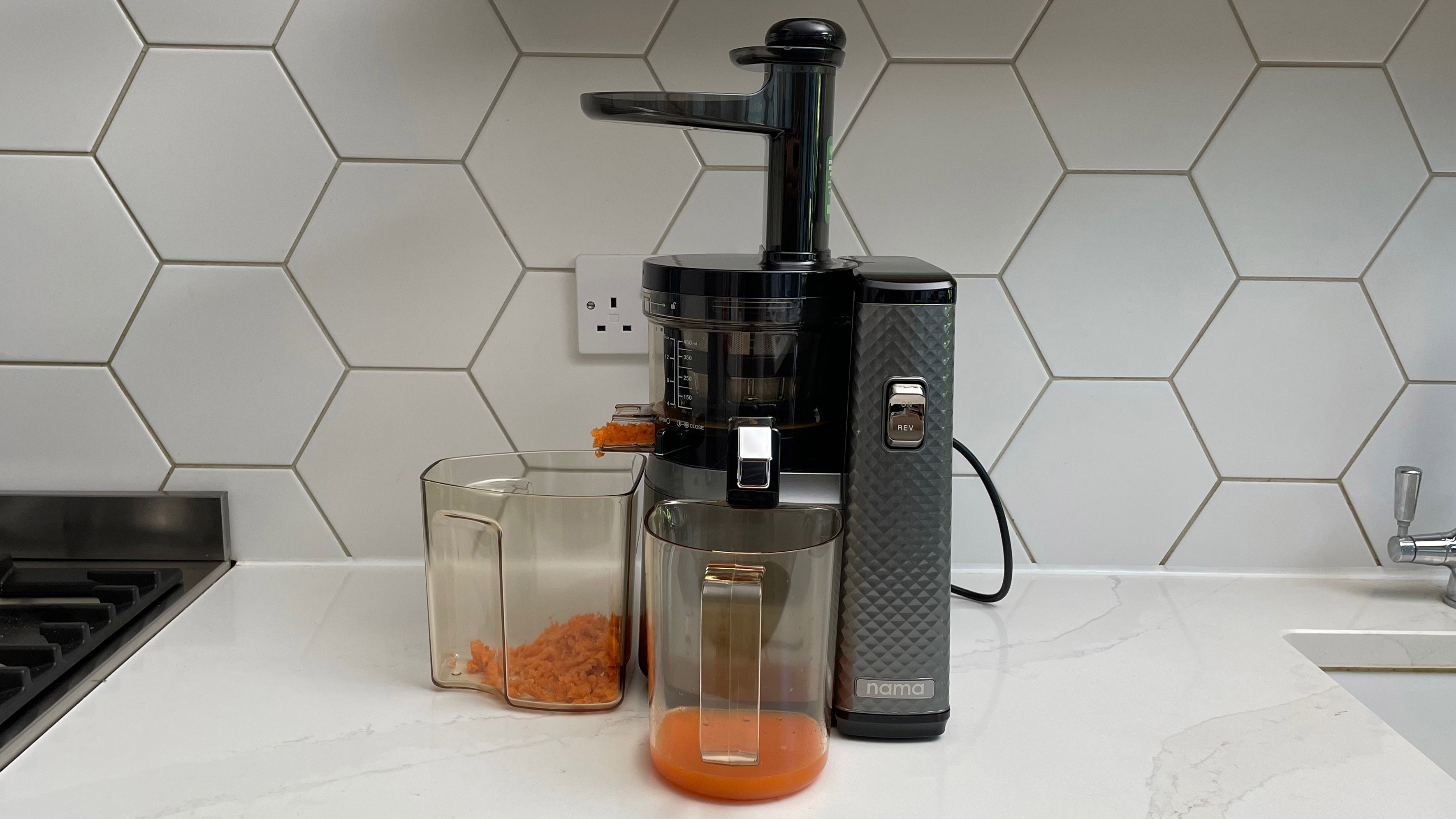 Nama Vitality 5800 on a kitchen countertop having been used to juice carrots