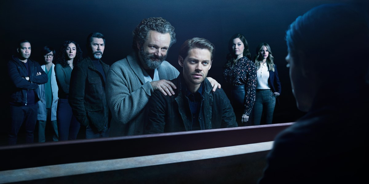 michael sheen and Tom payne with the prodigal son cast season 2