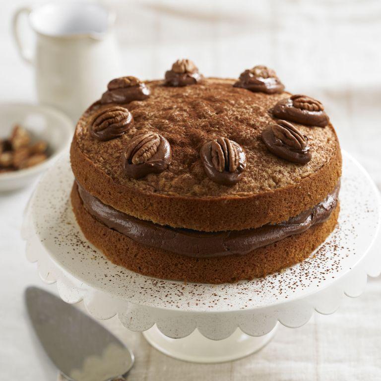 Coffee & pecan victoria sponge cake recipe-cake recipes-recipe ideas-new recipes-woman and home