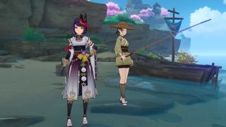 Sara stands next to a Fishing Association NPC, located on a beach in Inazuma