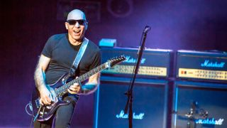 The G3 guitar concert tour has reached Oslo Konserthus. Here guitarist Joe Satriani is seen live on stage.