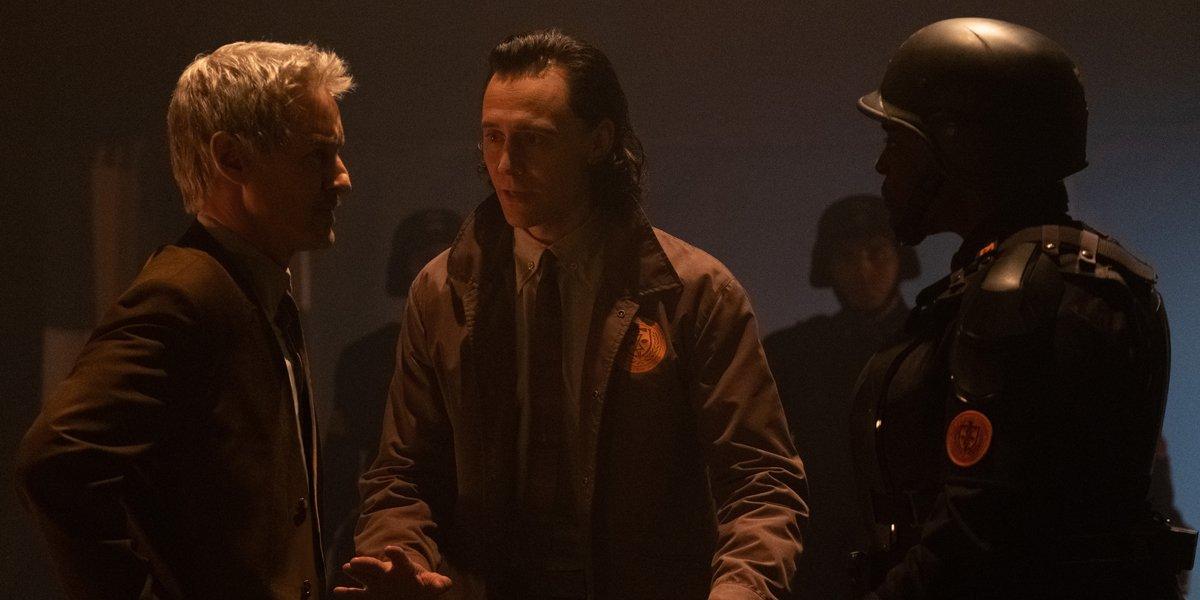 Tom Hiddleston as Loki with Owen Wilson as Mobius and Wunmi Mosaku in Loki Episode 2