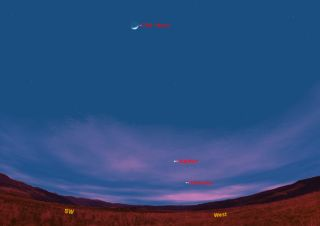 This sky map shows how the Jupiter, Mercury and the moon will appear at 6 pm ET pm March 10, 2011.