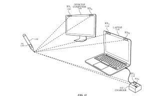 Diagram of an Apple stylus interacting with a desktop and laptop
