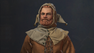 A medieval noble wearing a silly hat with bells on it from the game Crusader Kings 3.