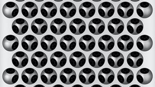 The distinctive grille of the Mac Pro