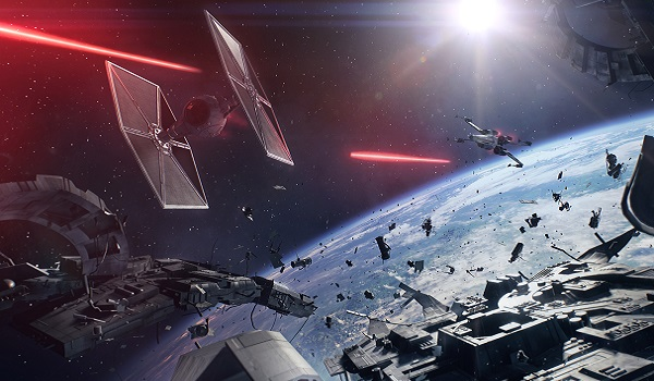 A space dogfight in Battlefront 2