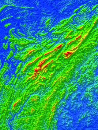 Elevation map of ancient topography in the southern Ural Mountains in Russia.