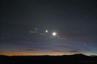 Morning Line Up of Stars and Planets