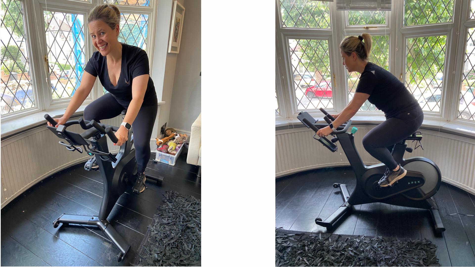 Suzanne Baum testing the Apex Bike