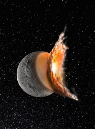 Artist's concept showing an impact that created the giant Rheasilvia crater on the protoplanet Vesta. Most of today's asteroids may have been created by such massive collisions long ago, a new study suggests.