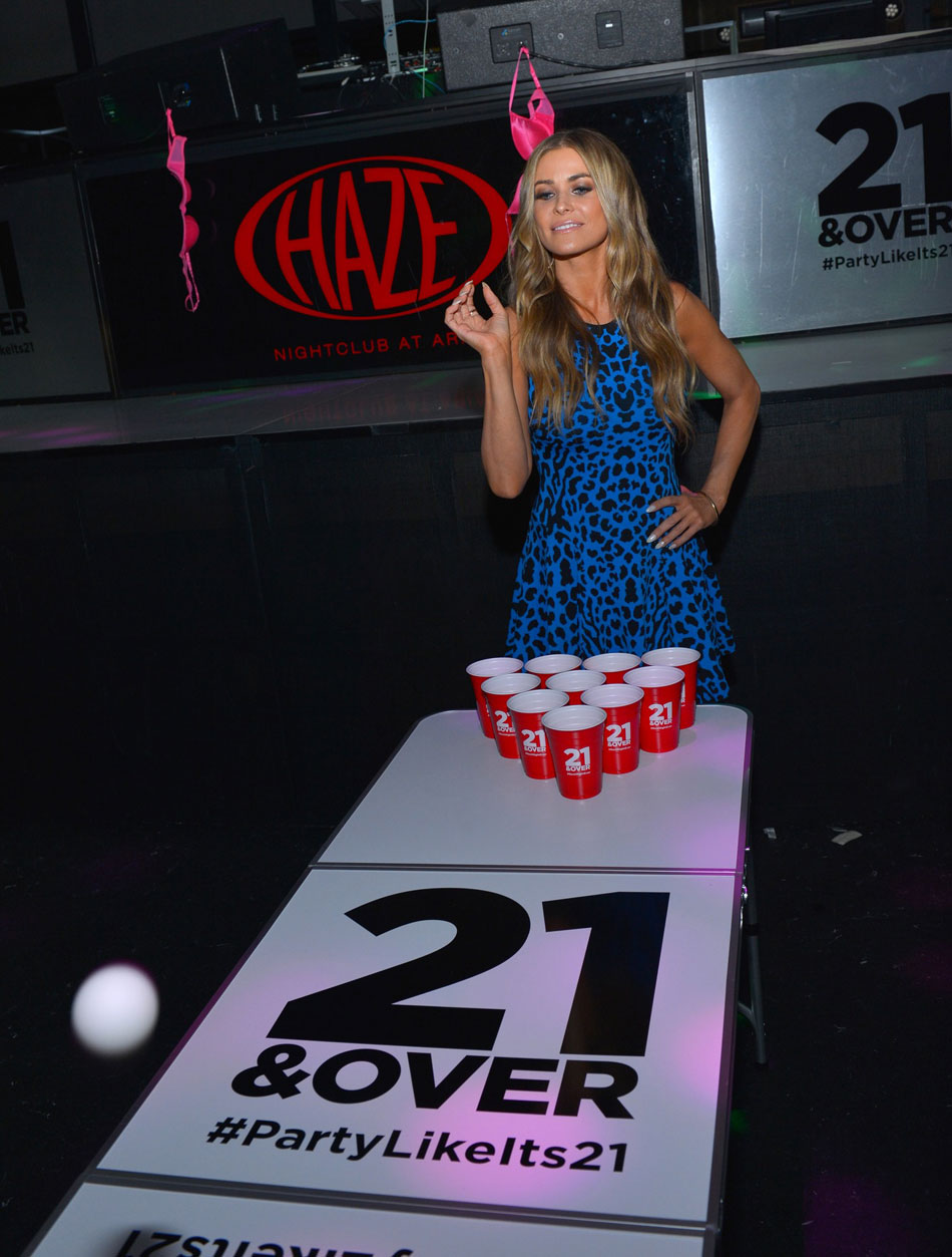 Check Out Carmen Electra Playing Beer Pong At 21 & Over Premiere #27211
