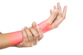 A woman suffers pain in her wrist and forearm.
