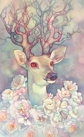 Watercolour painting of a deer surrounded by flowers