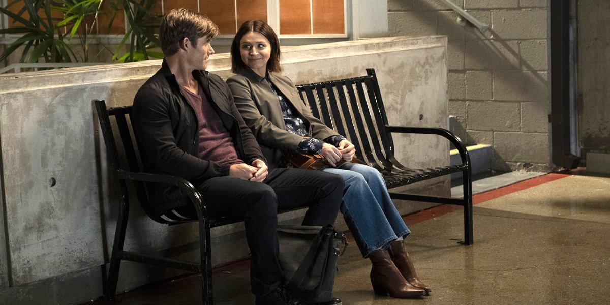 Grey's Anatomy Season 16 Episode 2 Link and Amelia sit on bench ABC