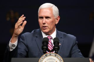 U.S. Vice President Mike Pence delivers a keynote address during Access Intelligence's Satellite 2019 Conference and Exhibition at the Walter E. Washington Convention Center May 06, 2019 in Washington, DC.