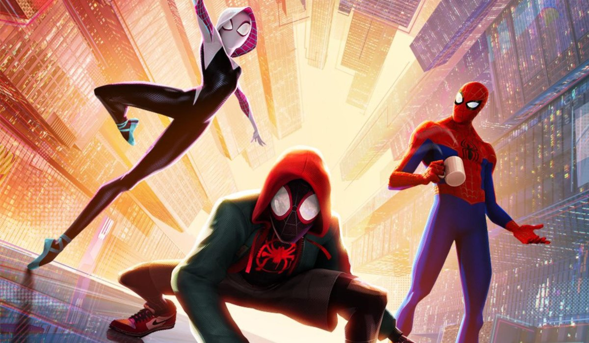 Spider-Man: Into The Spider-Verse Spider-Gwen Miles and Peter standing on a building