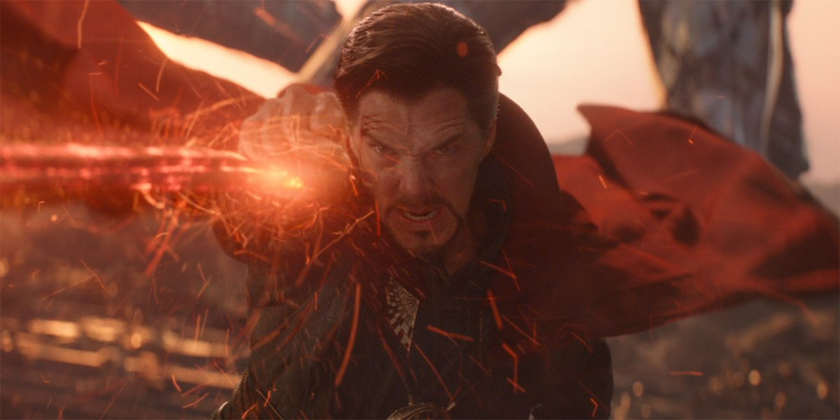Doctor Strange (Benedict Cumberbatch) blasts red energy binds in Avengers Infinity War