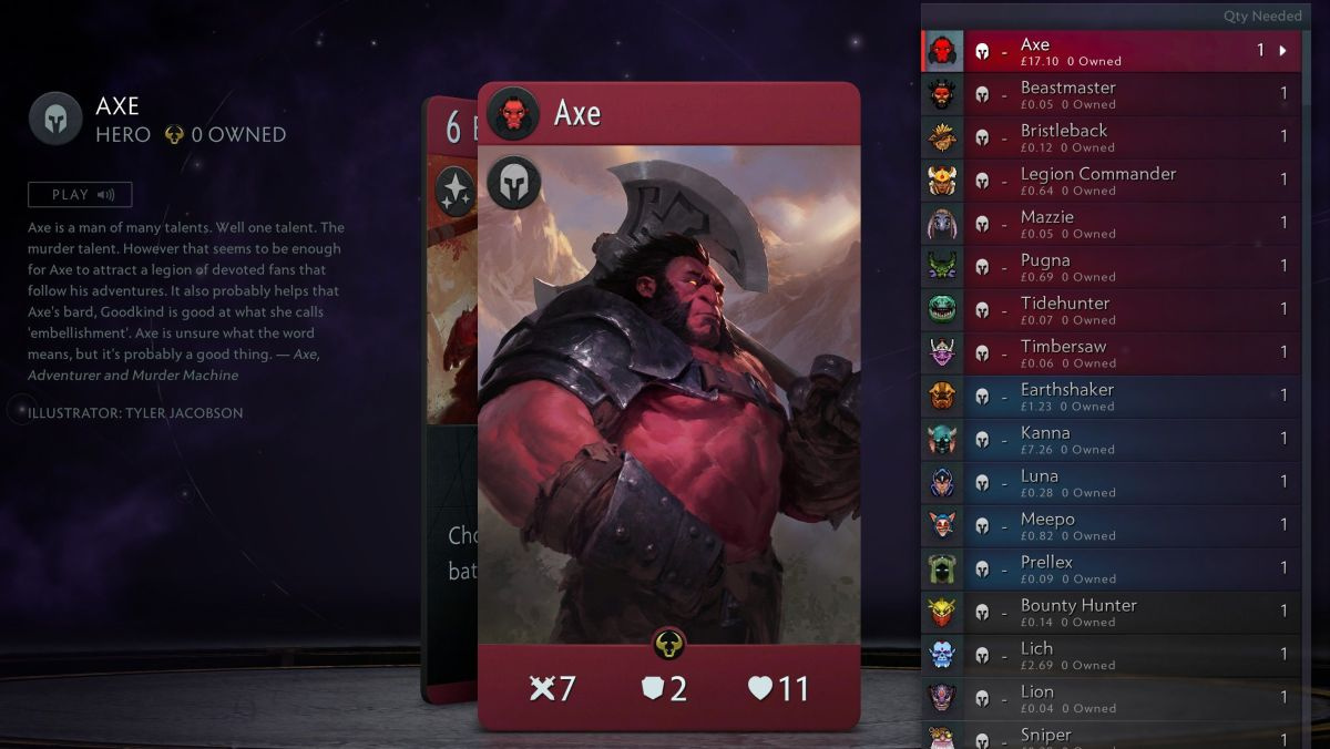 Artifact's most expensive card costs more than the game right now