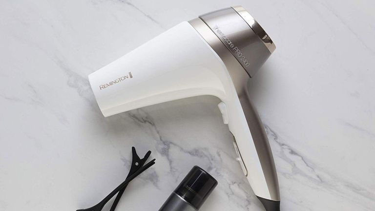 Best hair dryer: Remington hair dryer on marble surface