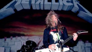 James Hetfield of Metallica on 4/5/86 in Chicago, Il