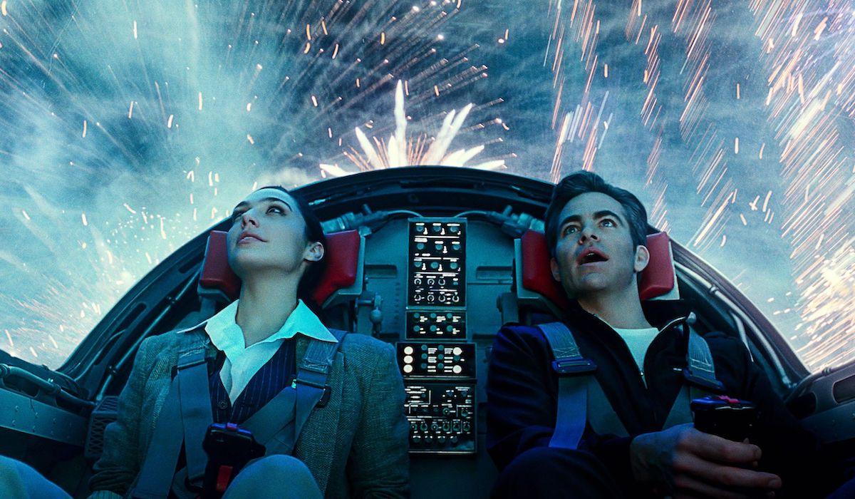 Gal Gadot and Chris Pine in plane in Wonder Woman 1984