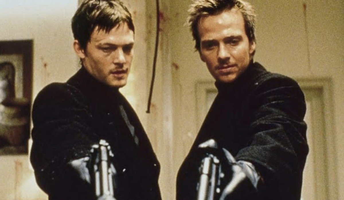 The Boondock Saints Norman Reedus and Sean Patrick Flannery aiming their guns