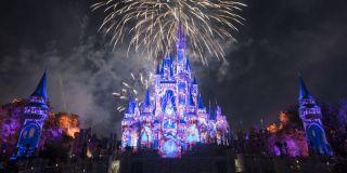 Cinderella Castle during fireworks at Walt Disney World