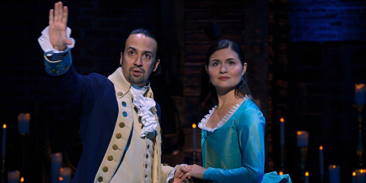 Lin-Manuel Miranda and Phillipa Soo in Hamilton